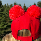 Mrs Emily Red Ear Pom Cap