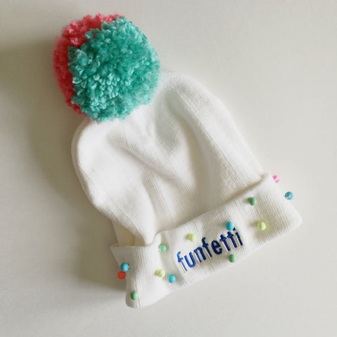 Funfetti Stocking Cap - white
