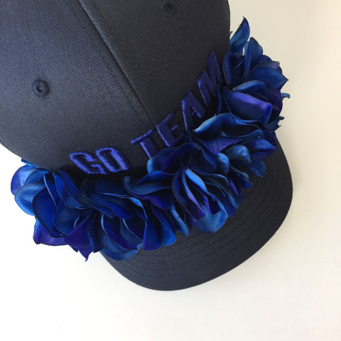 go team navy flower cap