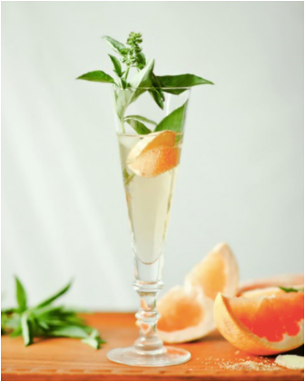 Ginger Basil Grapefruit Mimosa blog the pod collection