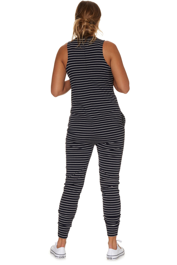 Nursing hudson jumpsuit Navy stripe back the pod collection