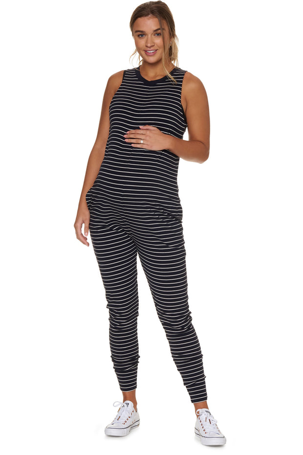 Nursing hudson jumpsuit Navy stripe front the pod collection