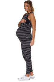 Nursing hudson jumpsuit Navy stripe side the pod collection