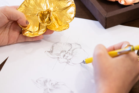 Peggy Jeffs Sketching Her Bespoke Orchid Necklace
