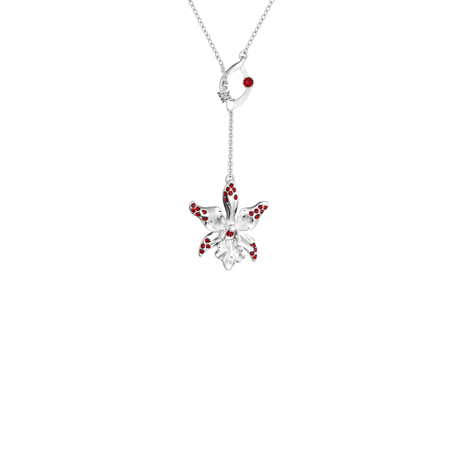 Dazzle With Orchids Necklace - Dendrobium Inspired Orchid with Siam Garnet (Jan)