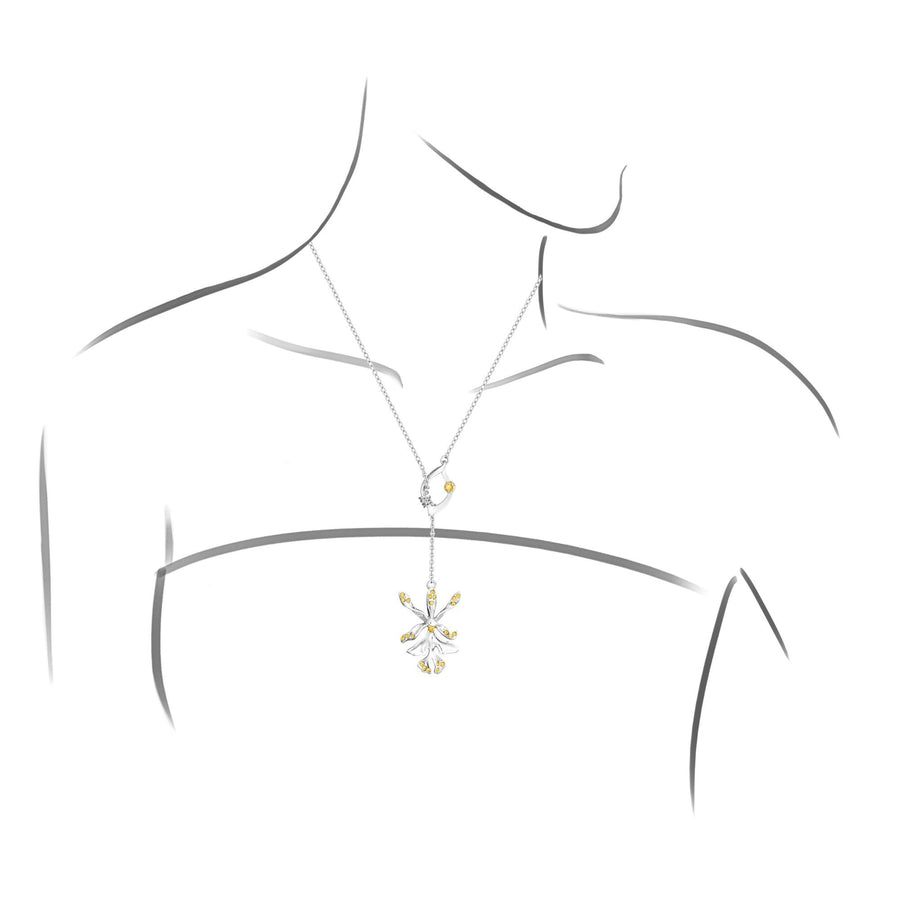 Dazzle With Orchids Necklace - Epidendrum Inspired Orchid with Topaz (Nov)