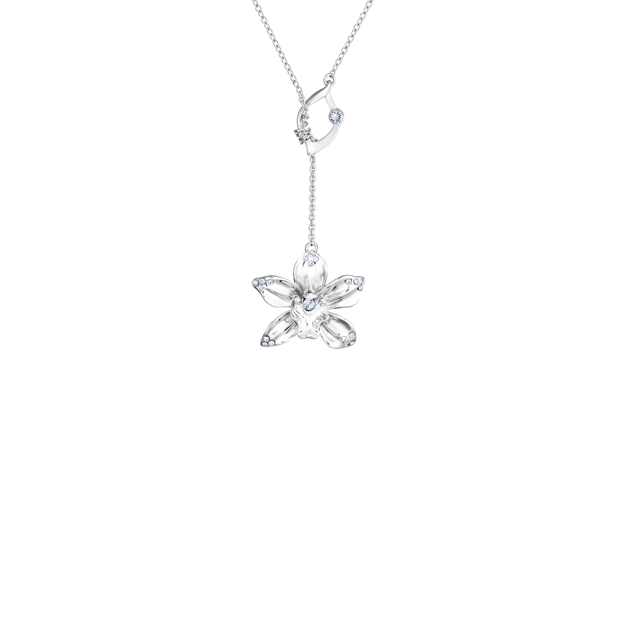 Dazzle With Orchids Necklace - Cymbidium Inspired Orchid with Light Sapphire (Dec)