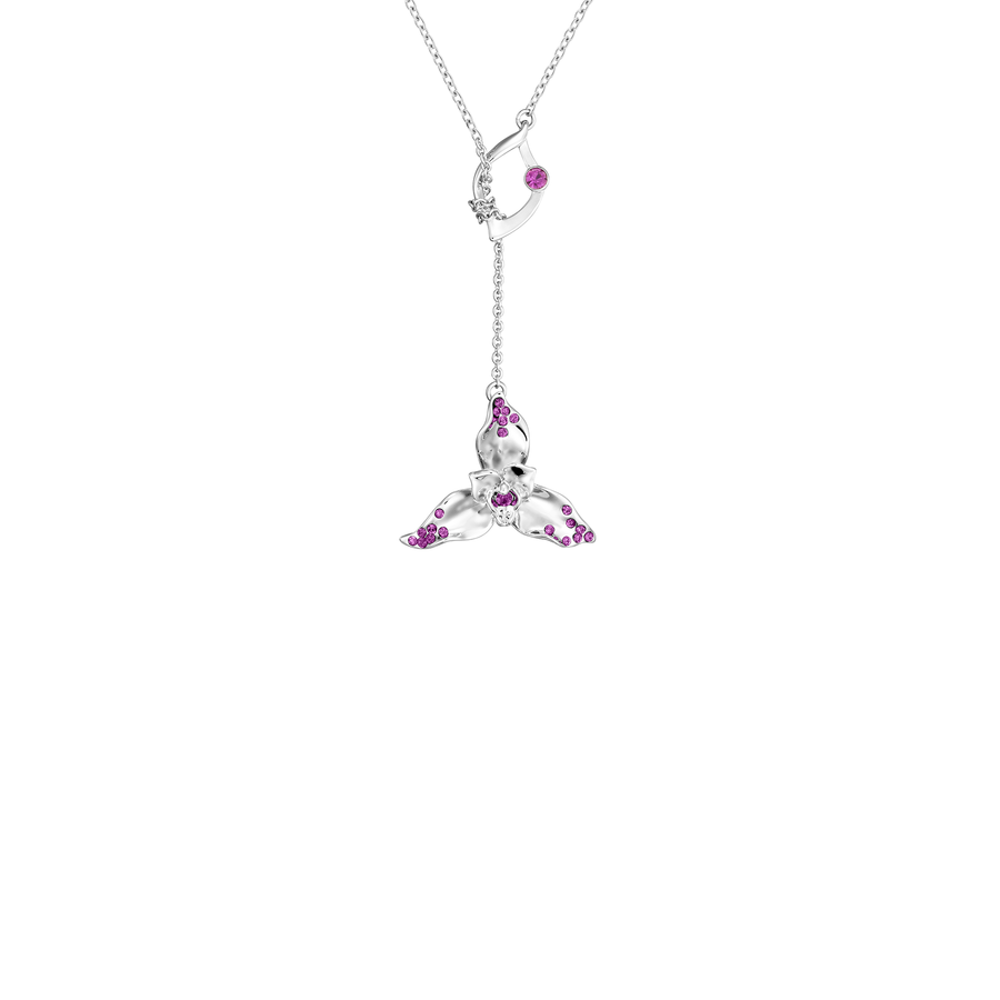 Dazzle With Orchids Necklace - Lycaste Inspired Orchid with Amethyst (Feb)