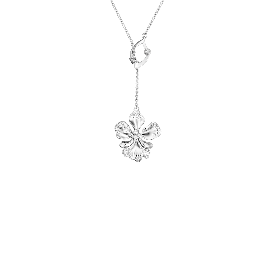 Dazzle With Orchids Necklace - Odontglossum Inspired Orchid with Crystal Moonlight (Apr)