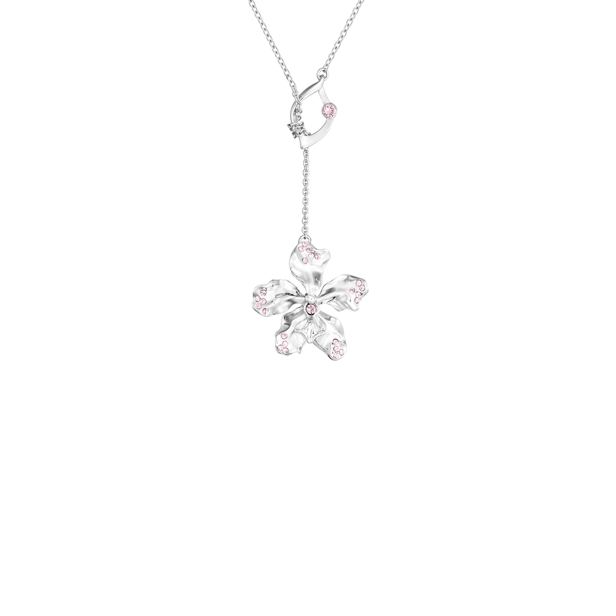 Dazzle With Orchids Necklace - Vanda Inspired Orchid with Light Amethyst (Jun)