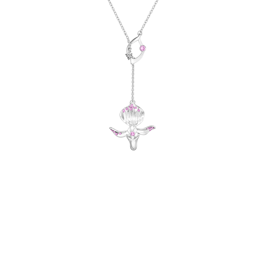 Dazzle With Orchids Necklace - Paphiopedilum Inspired Orchid with Rose (Jul)