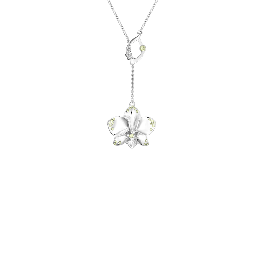 Dazzle With Orchids Necklace - Phalaenopsis Inspired Orchid with Peridot (Aug)