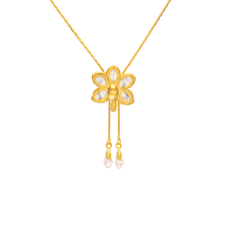 Ascocenda Sagarik Gold Orchid Slider With Crystal Tailends (RHG)
