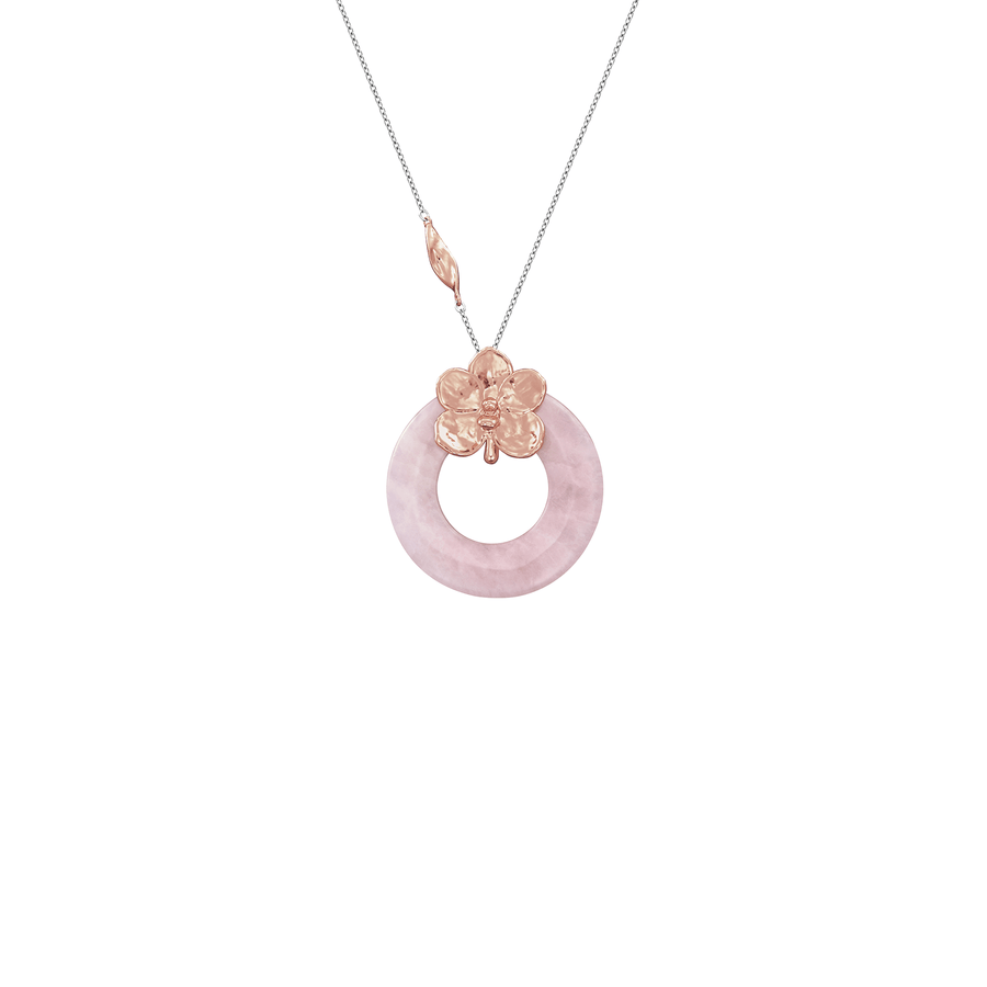 Circle of Happiness - Necklace with Ascocenda Pralor Orchid and Rose Quartz