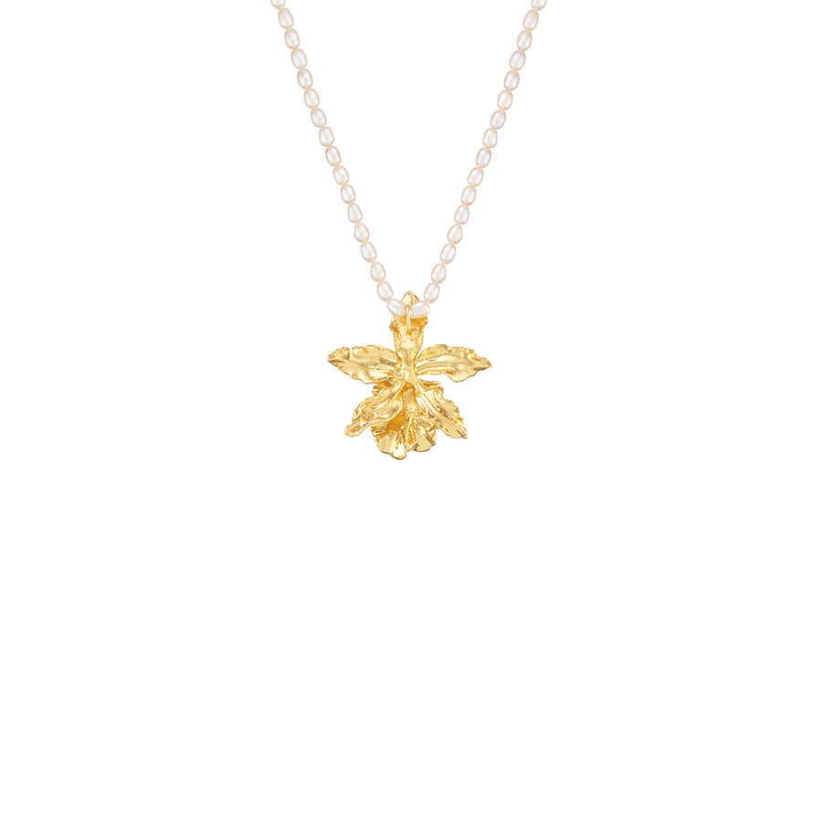 Jubilee Oncidium Volcano Queen Orchid Pendant with Pearl Necklace