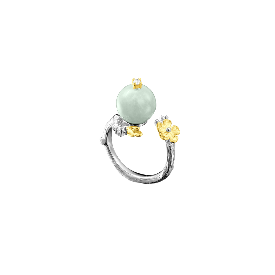 Nature's Jade Flower Ring with White Topaz
