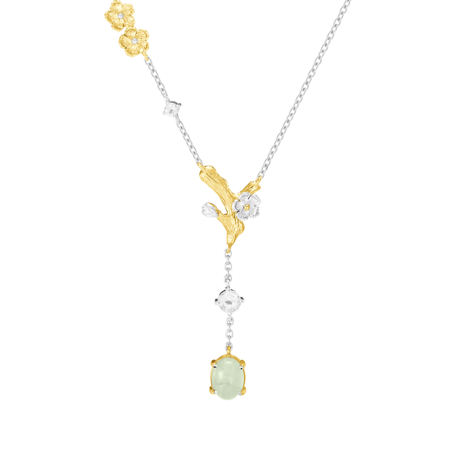 Nature's Jade Necklace with White Topaz (S)