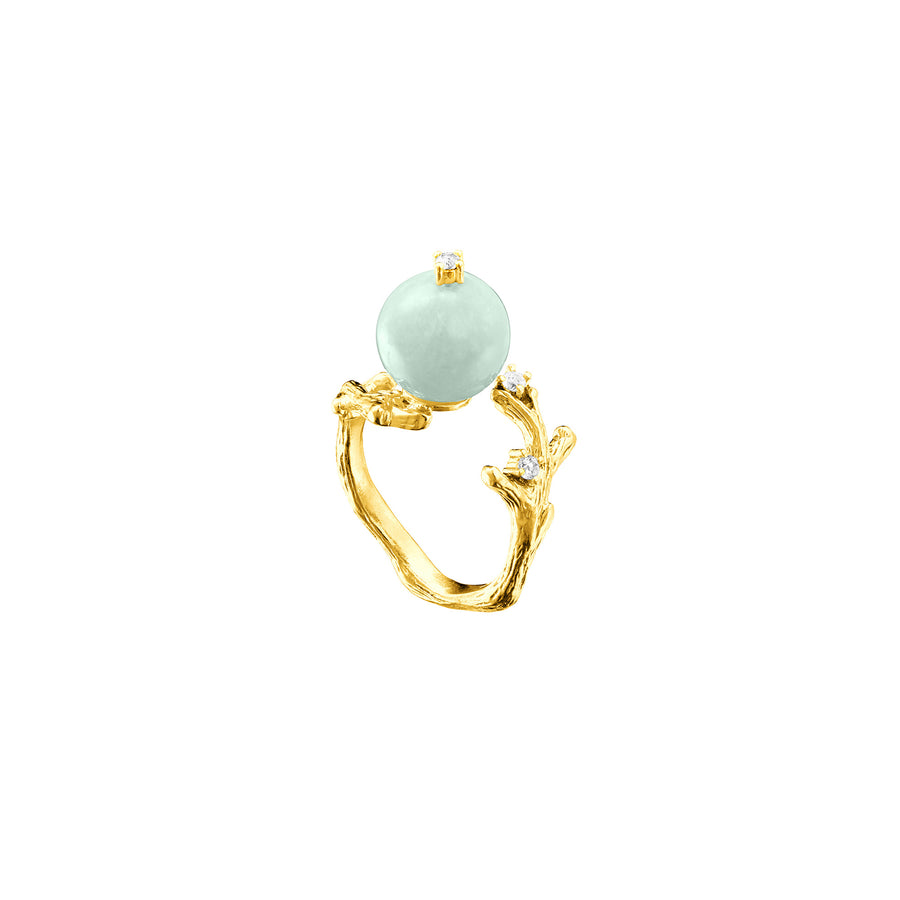 Nature's Jade Branch Ring with White Topaz