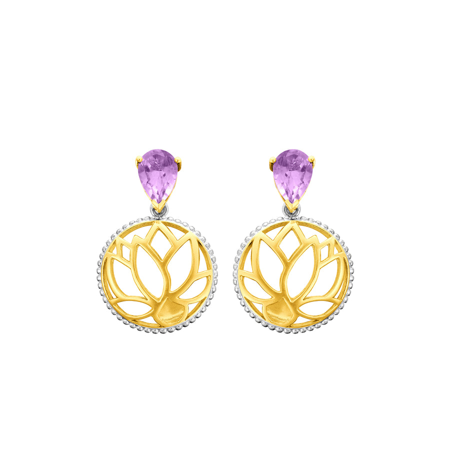 Lotus Satori Earrings with Amethyst