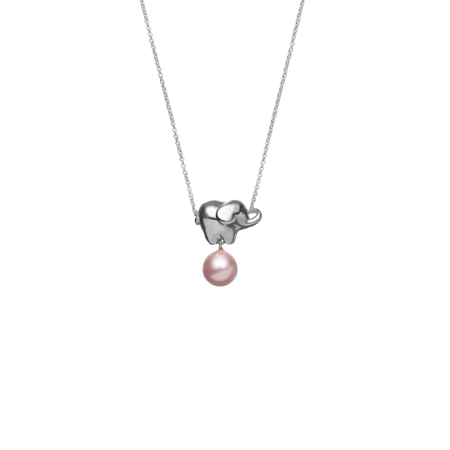 Baby Elephant Pearl Necklace (Rosaline)