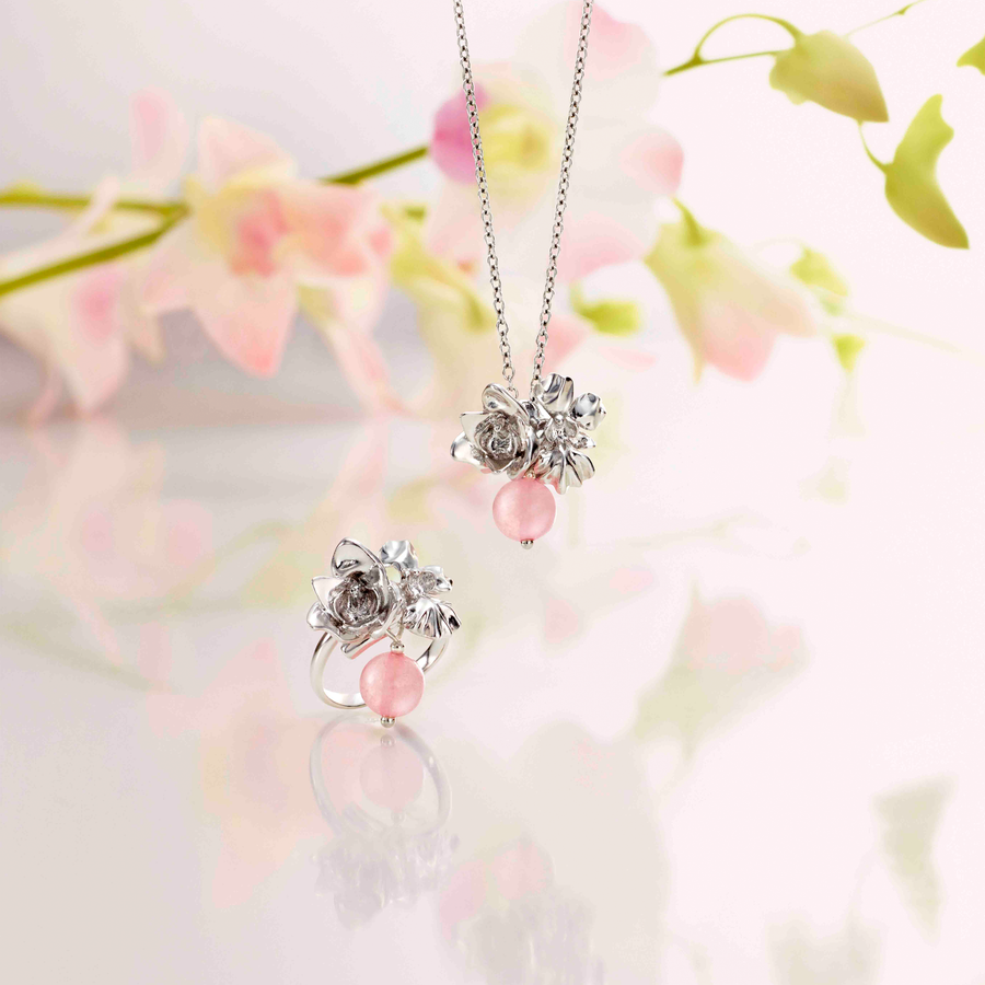 Budding Love Necklace with Rose Quartz
