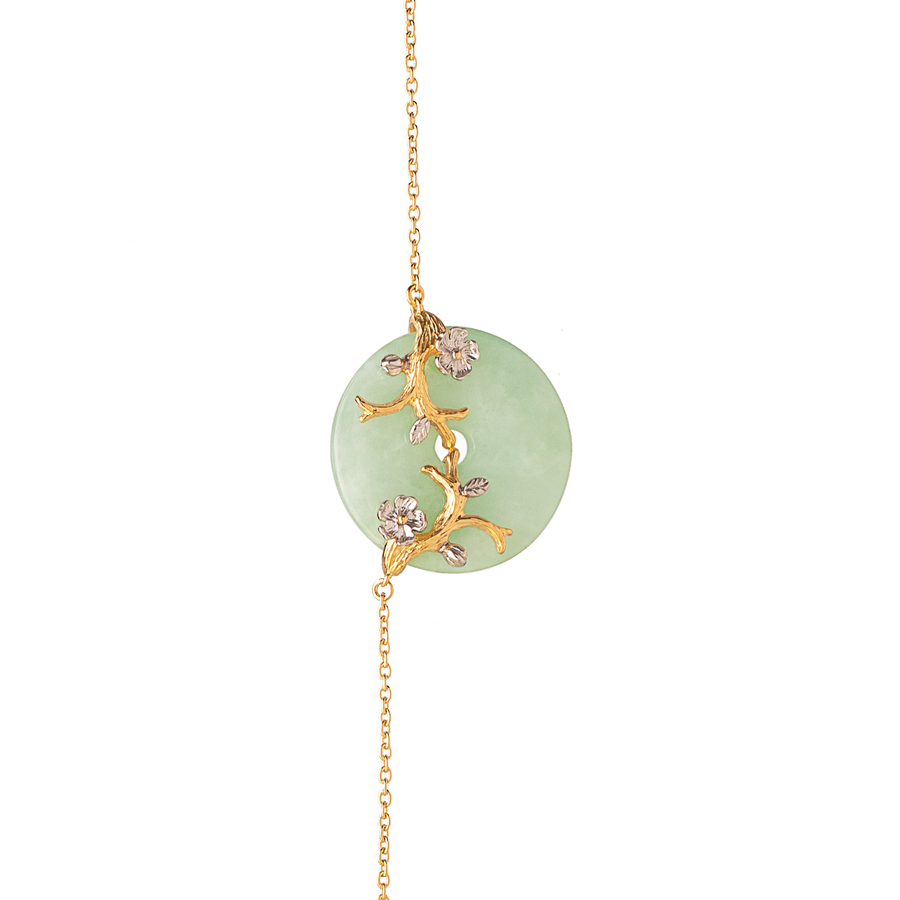 Nature's Jade Long Necklace with White Topaz (L)