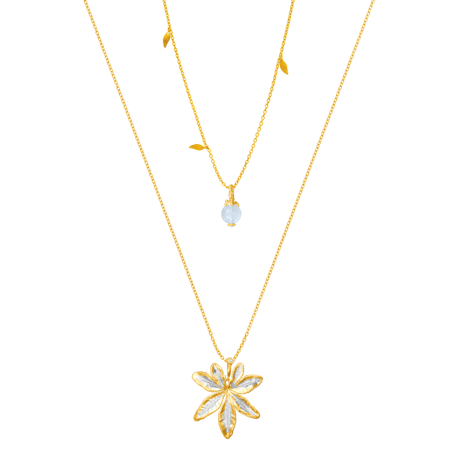 Morning Glory Leaf Necklace with Aquamarine and Topaz