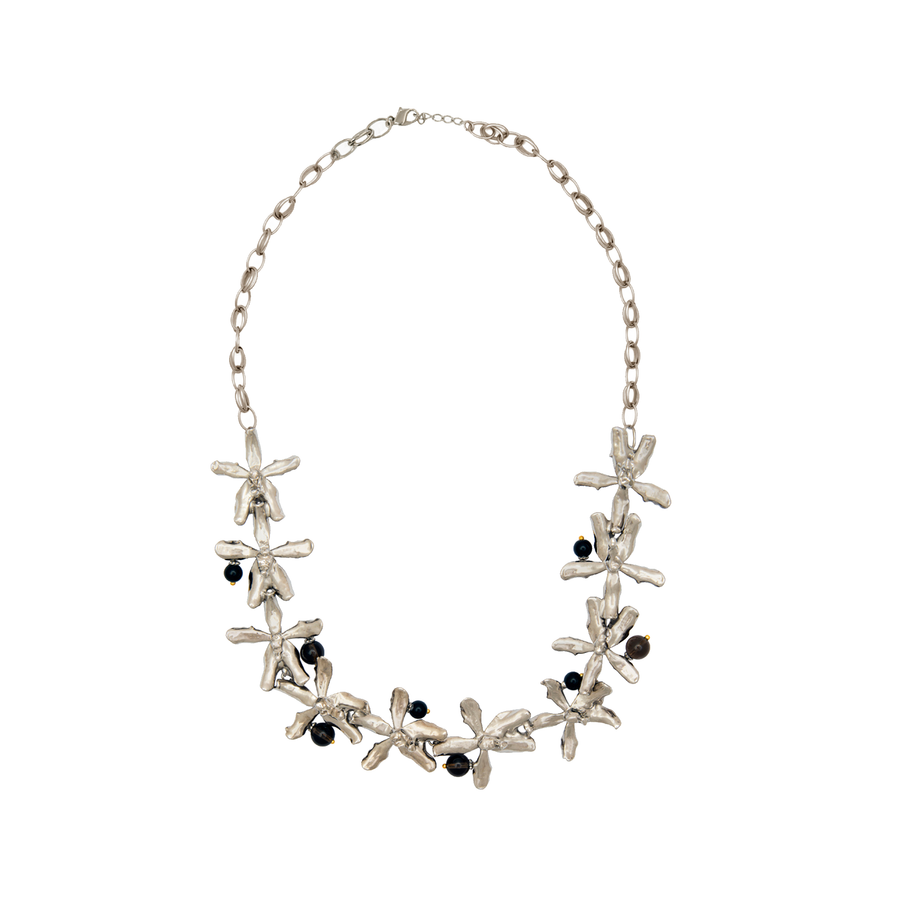 Orchid Rhapsody Necklace with Smoky Quartz and Black Agate