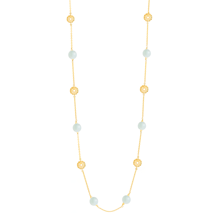 Peranakan Spheres Long Necklace with Jade (G)