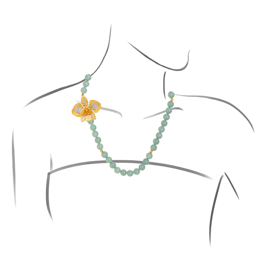 Phalaenopsis Schilleriana Orchid Necklace with Jade