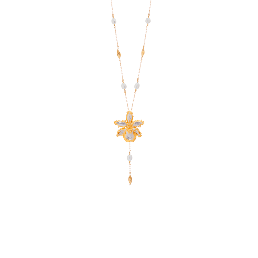 Guann Shin Howard Orchid with White Freshwater Pearls