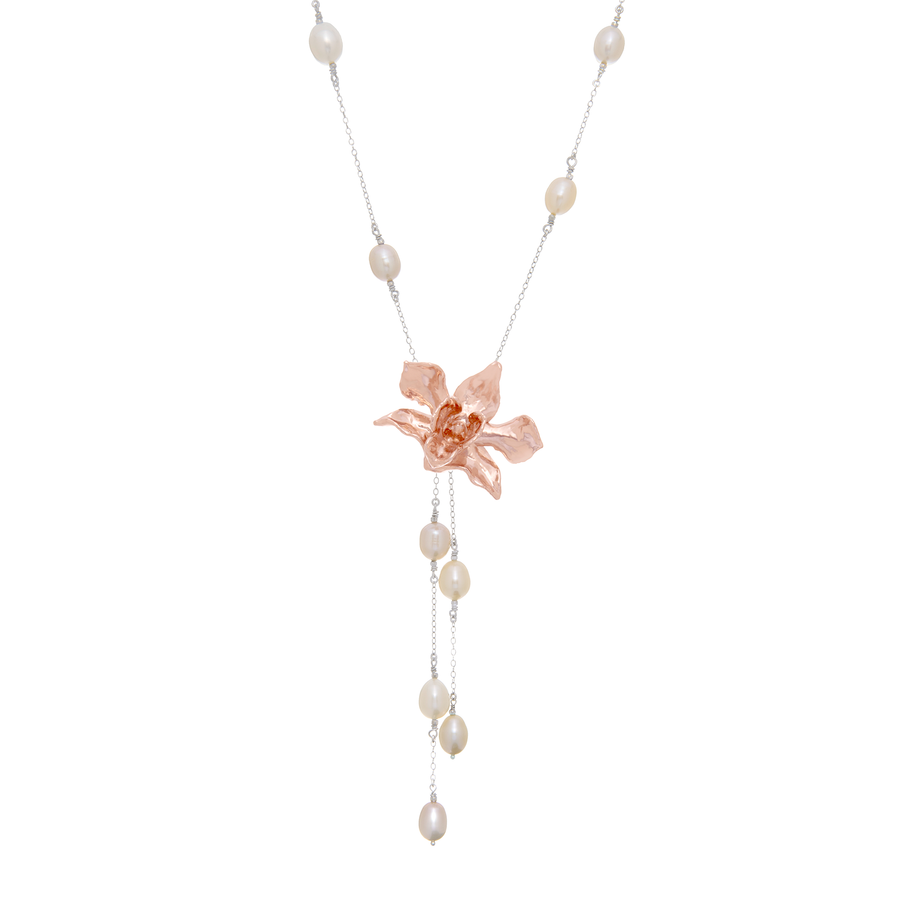 Dendrobium Little Atro Orchid Necklace with Freshwater Pearls