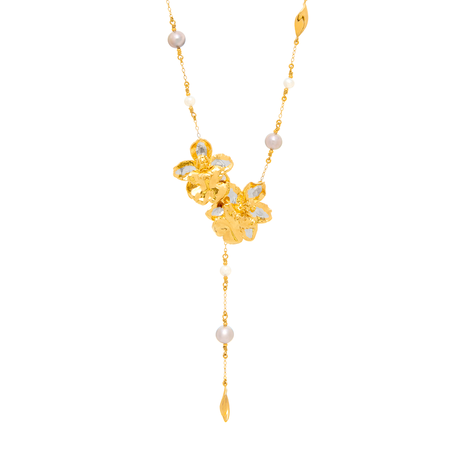 Oncidium Hwuluduen Pixie Orange Fruit Orchid Necklace with Grey and White Freshwater Pearls