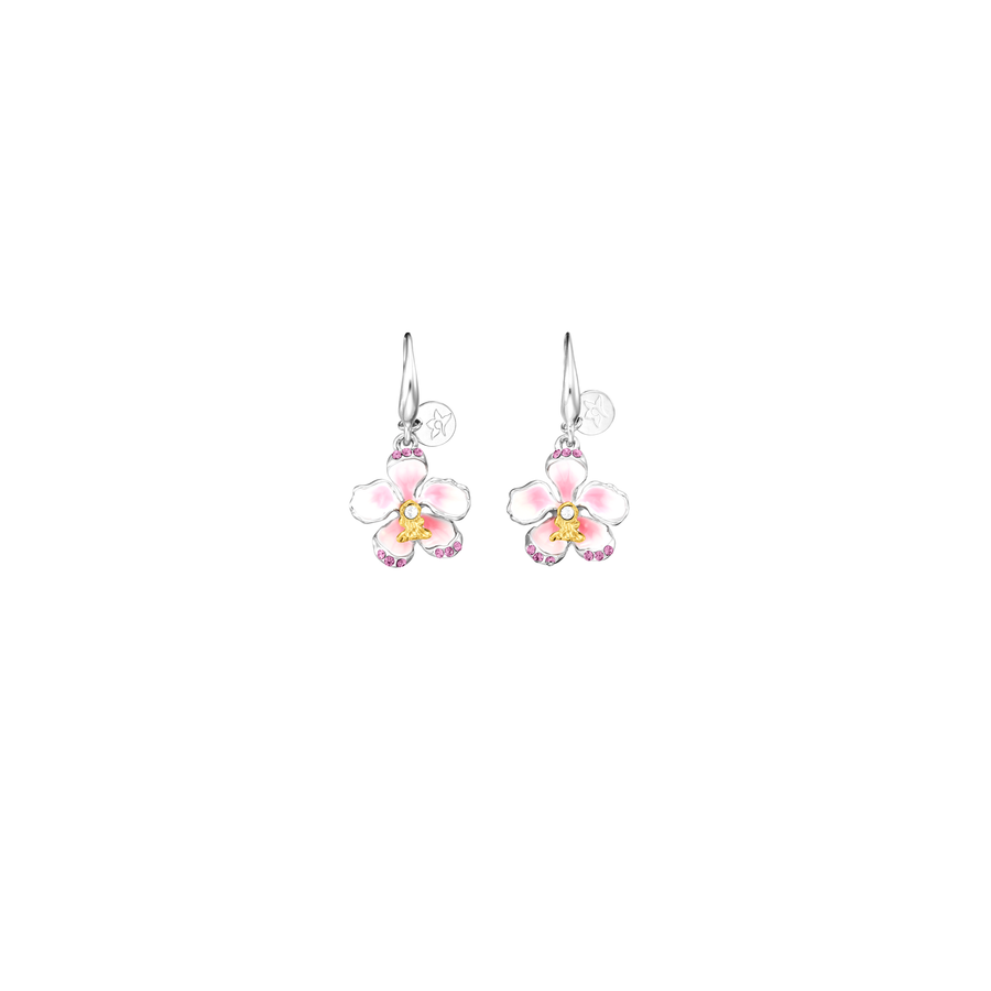 Crystal Blossom Rose Kiss Earrings