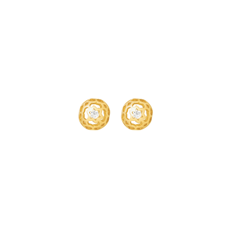 Peranakan Spheres Pierced Earrings with White Topaz (G)