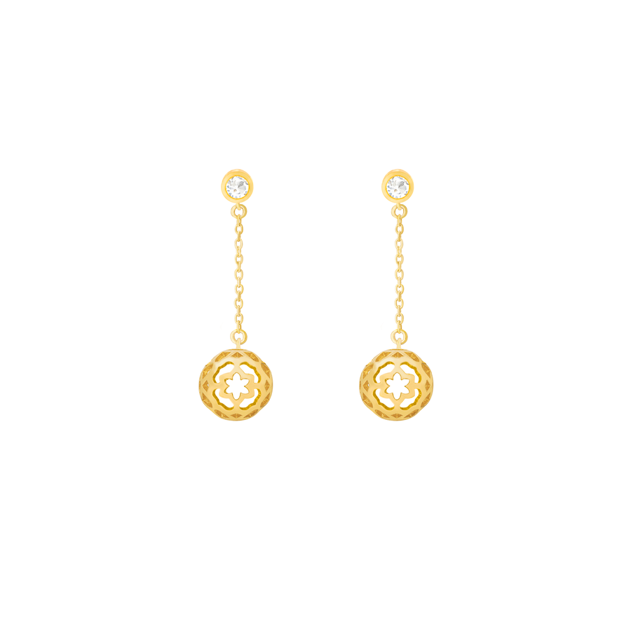 Peranakan Spheres Dangling Earrings with White Topaz (G)