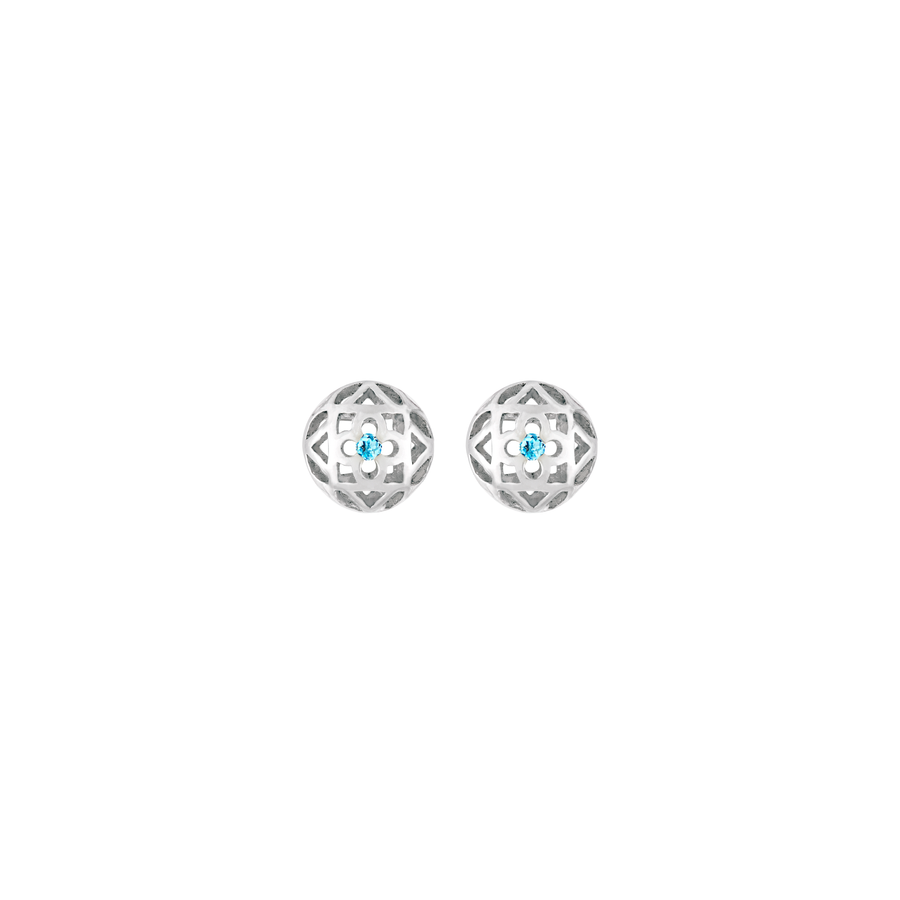Peranakan Spheres Pierced Earrings with Blue Topaz (RH)