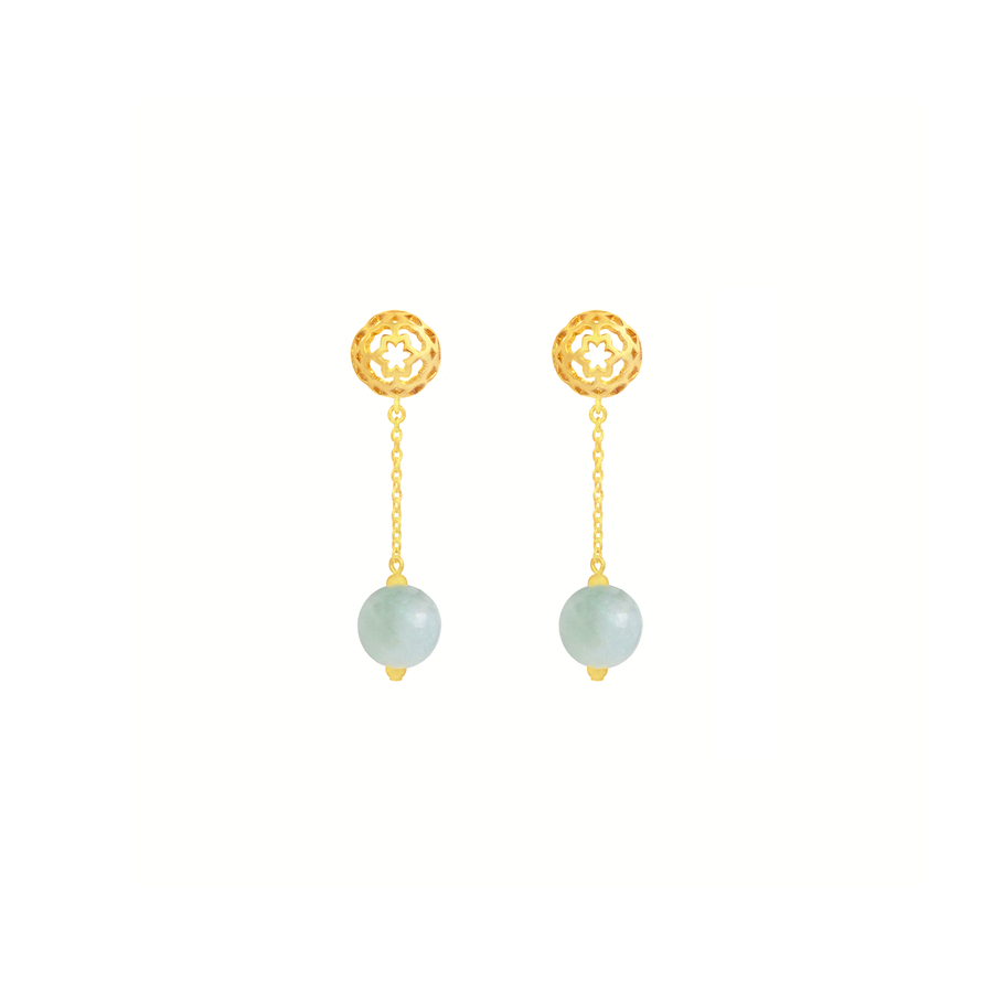 Peranakan Spheres Dangling Earrings with Jade (G)