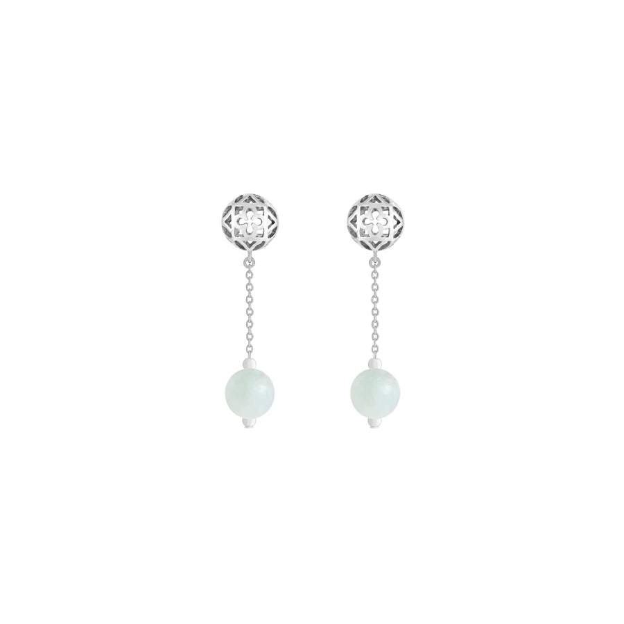 Peranakan Spheres Dangling Earrings with Jade (RH)