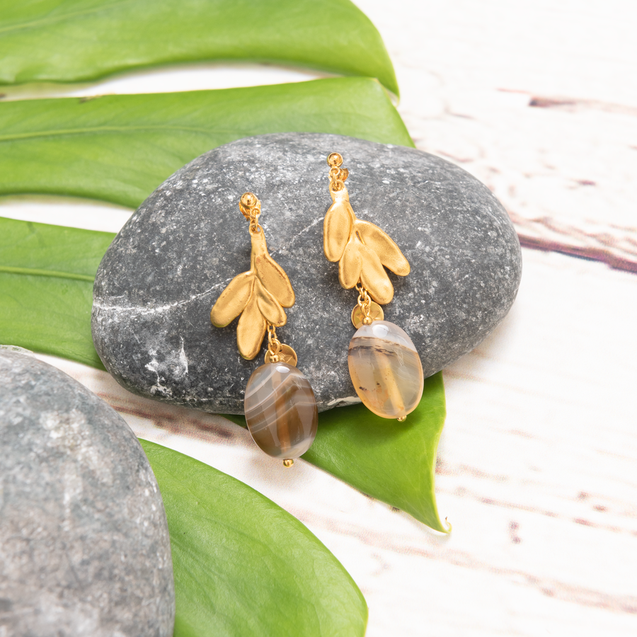 Rue of Grace Earrings with Montana Agate