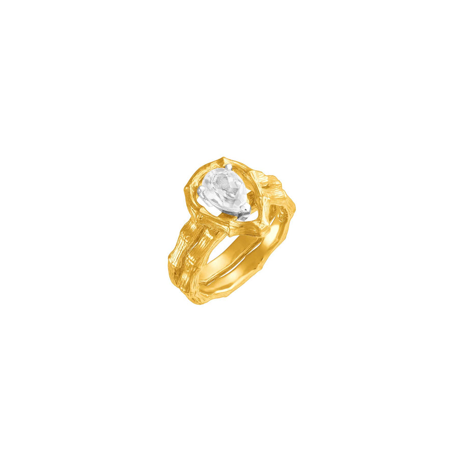 Vintage Bamboo Ring with White Topaz