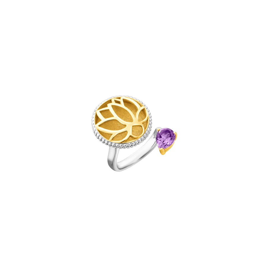 Lotus Satori Ring with Amethyst
