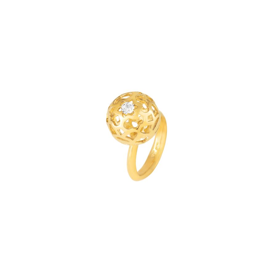 Peranakan Spheres Large Ring with White Topaz (G)