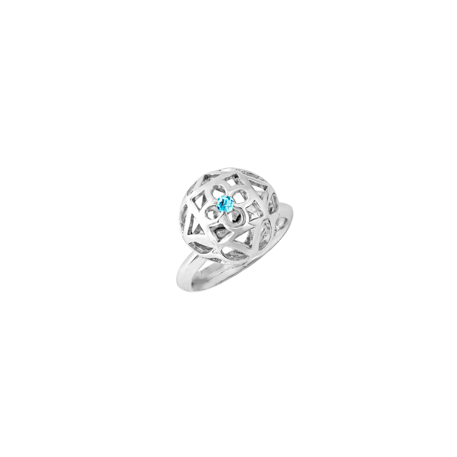Peranakan Spheres Large Ring with Blue Topaz (RH)