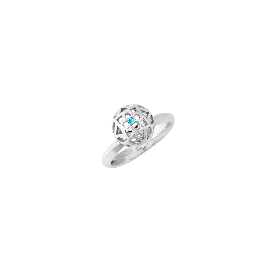 Peranakan Spheres Small Ring with Blue Topaz (RH)