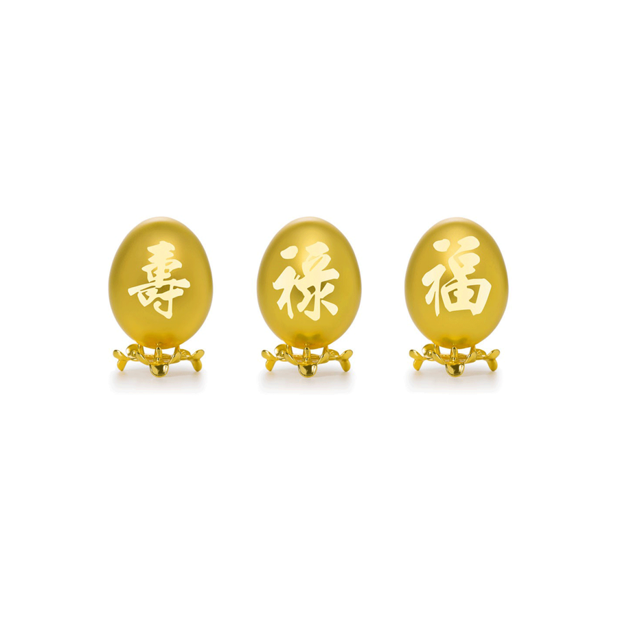 24K Gold-Plated Natural Fu Lu Shou Chicken Egg Set
