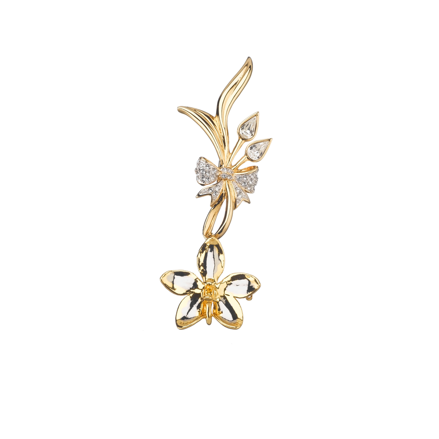 Elegant Aeridovanda Vieng Ping Orchid Brooch with Butterfly Knot (PG)
