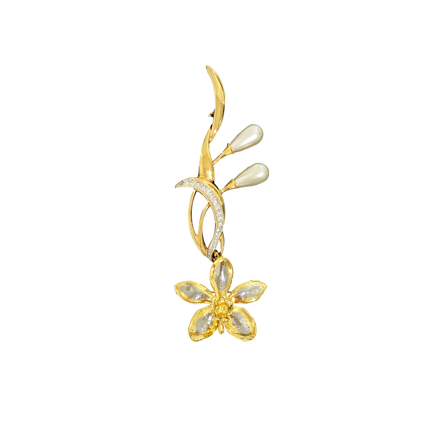 Elegant Aeridovanda Vieng Ping Orchid Brooch with Pearl (RHG)