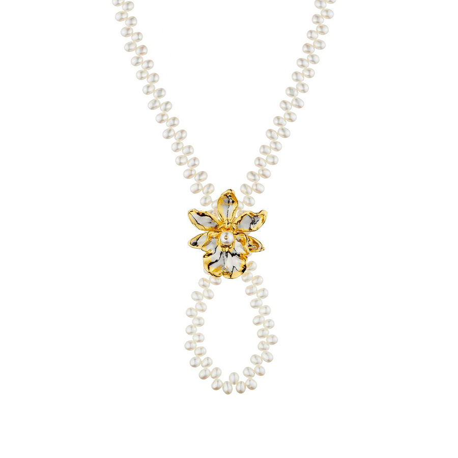 Jubilee Oncidium Hwuluduen Orchid Long Necklace with Freshwater Pearl (PG)