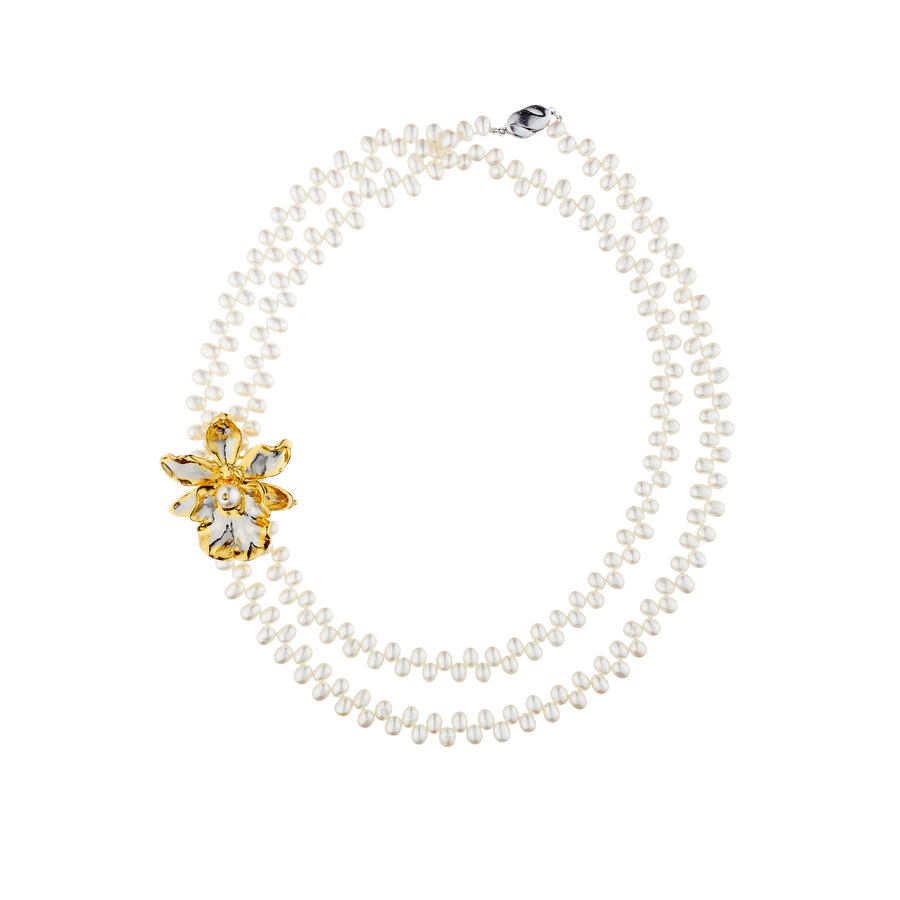 Jubilee Oncidium Hwuluduen Orchid Long Necklace with Freshwater Pearl (RHG)
